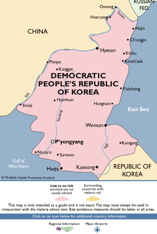 Democratic People's Republic of KoreaMalaria Map