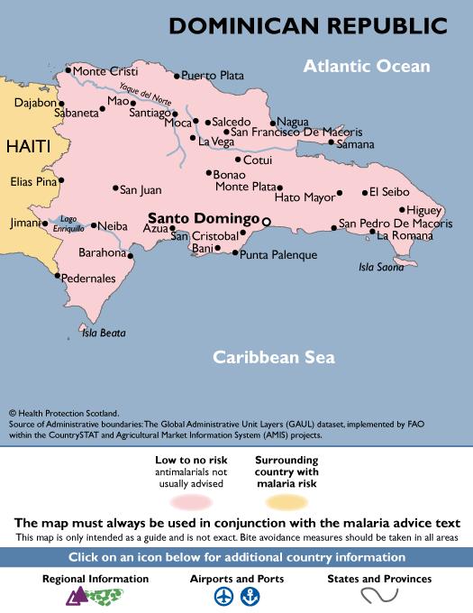 Dominican RepublicMalaria Map