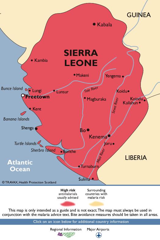 Sierra LeoneMalaria Map