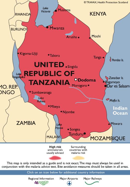 United Republic of TanzaniaMalaria Map